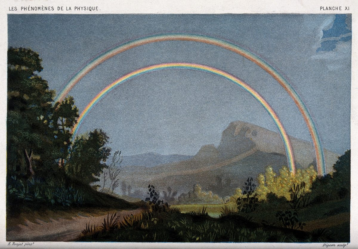 Meteorology- a double rainbow. Coloured lithograph by R.H. Digeon, 1868, after E. Ronjat.
