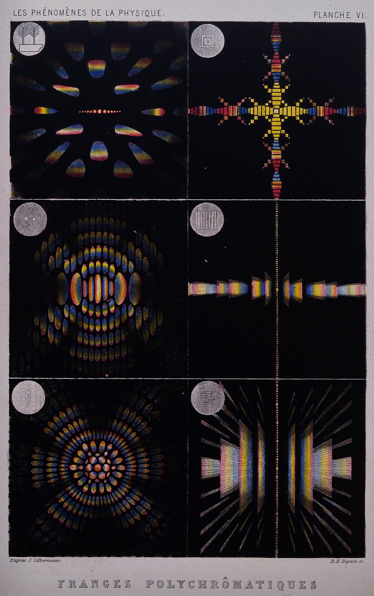 Optics- crystals exhibiting interference colours. Coloured mezzotint [?] by R.H. Digeon, ca. 1883, after J. Silbermann.