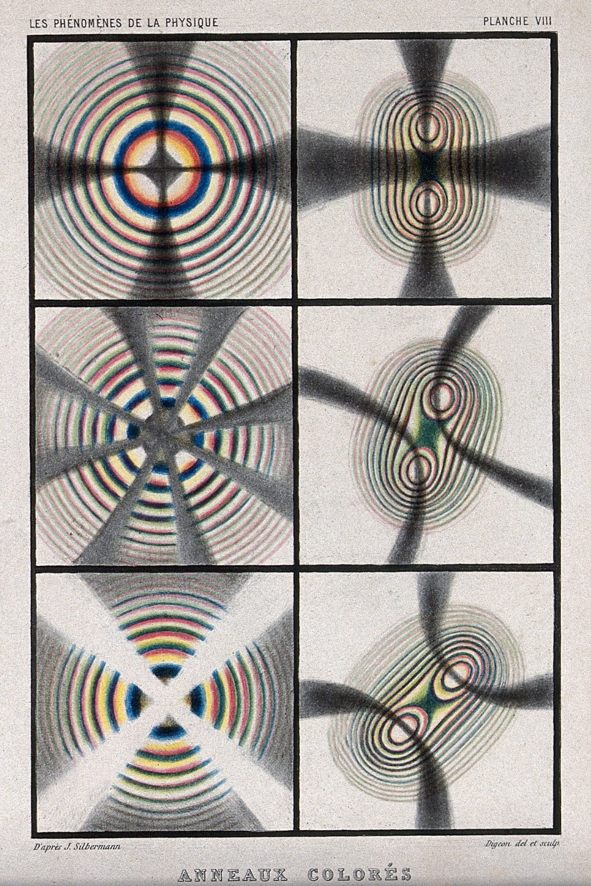 Optics- crystals exhibiting interference colours. Coloured process print by R.H. Digeon, ca. 1868, after J. Silbermann.