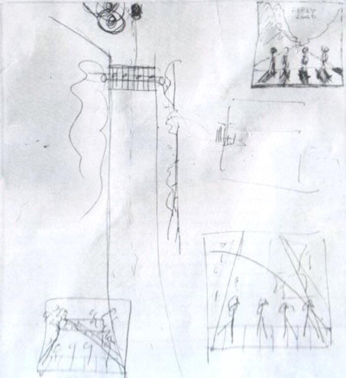 Paul McCartney's concept sketch of the famous Abbey Road album cover.