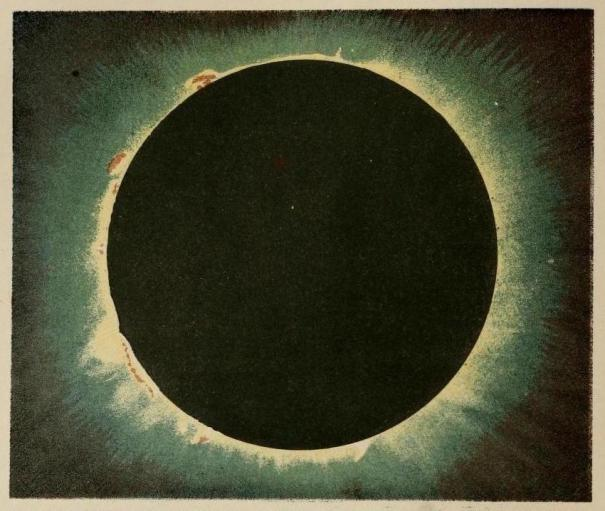 Total eclipse of the Sun, July 1860, illustrated by astronomer Warren de la Rue.