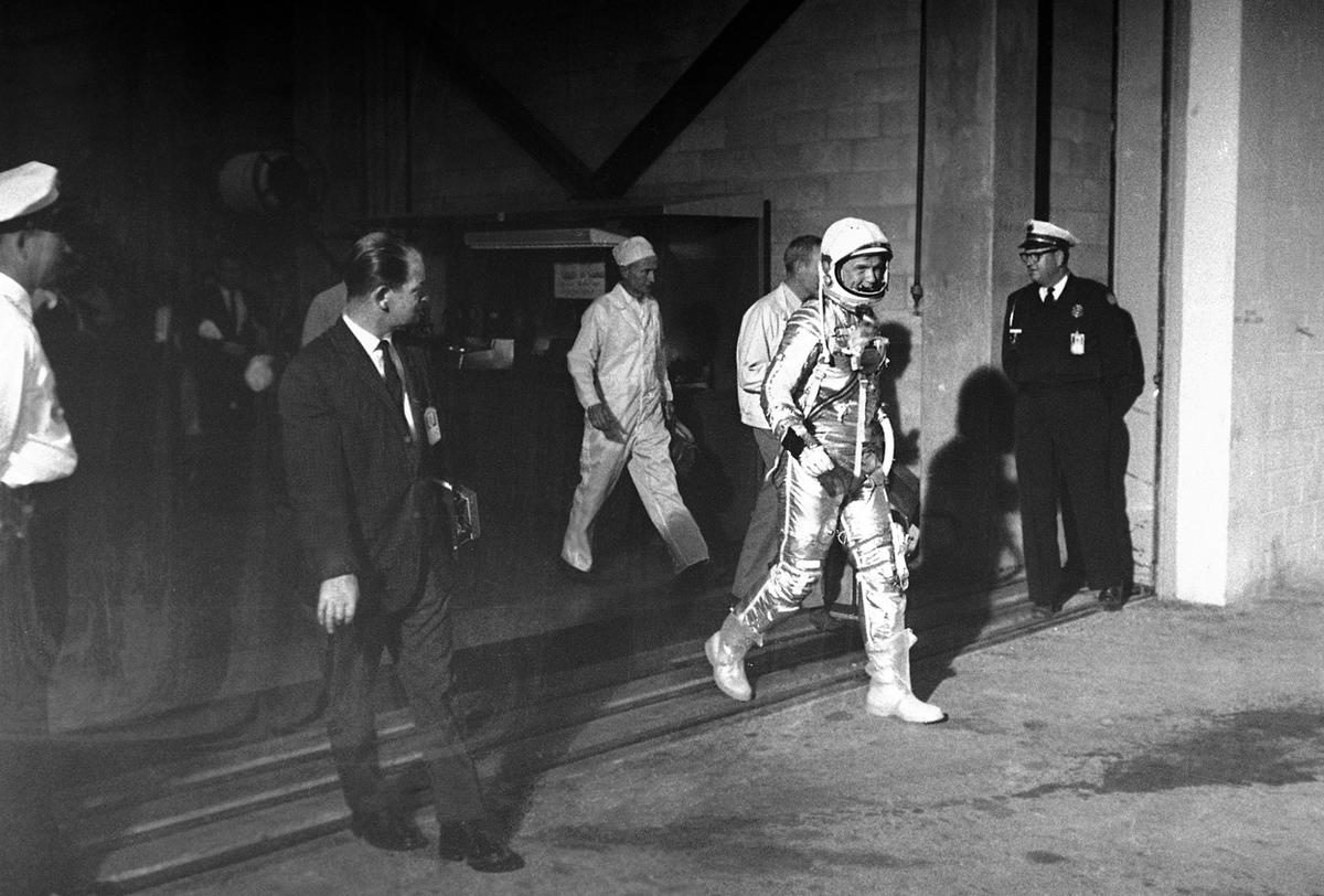 John Glenn walks from Hanger S to the launch pad - February 20, 1962 in Cape Canaveral.