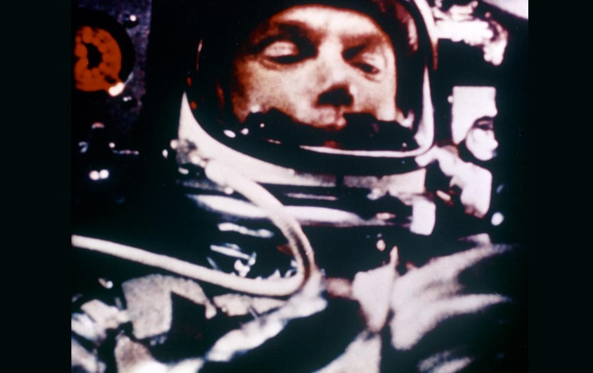 Astronaut John Glenn is weightless