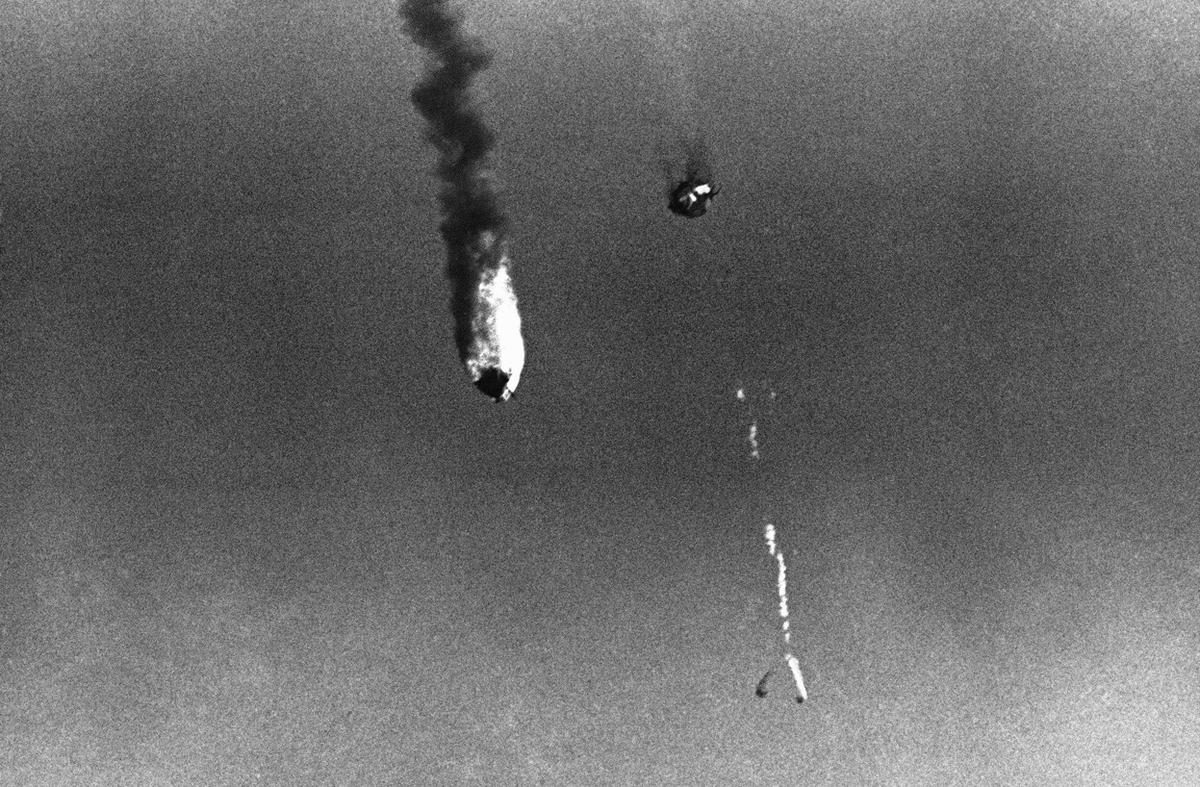 The failed Atlas missile carrying Goliath over Cape Canaveral - November 10, 1961.