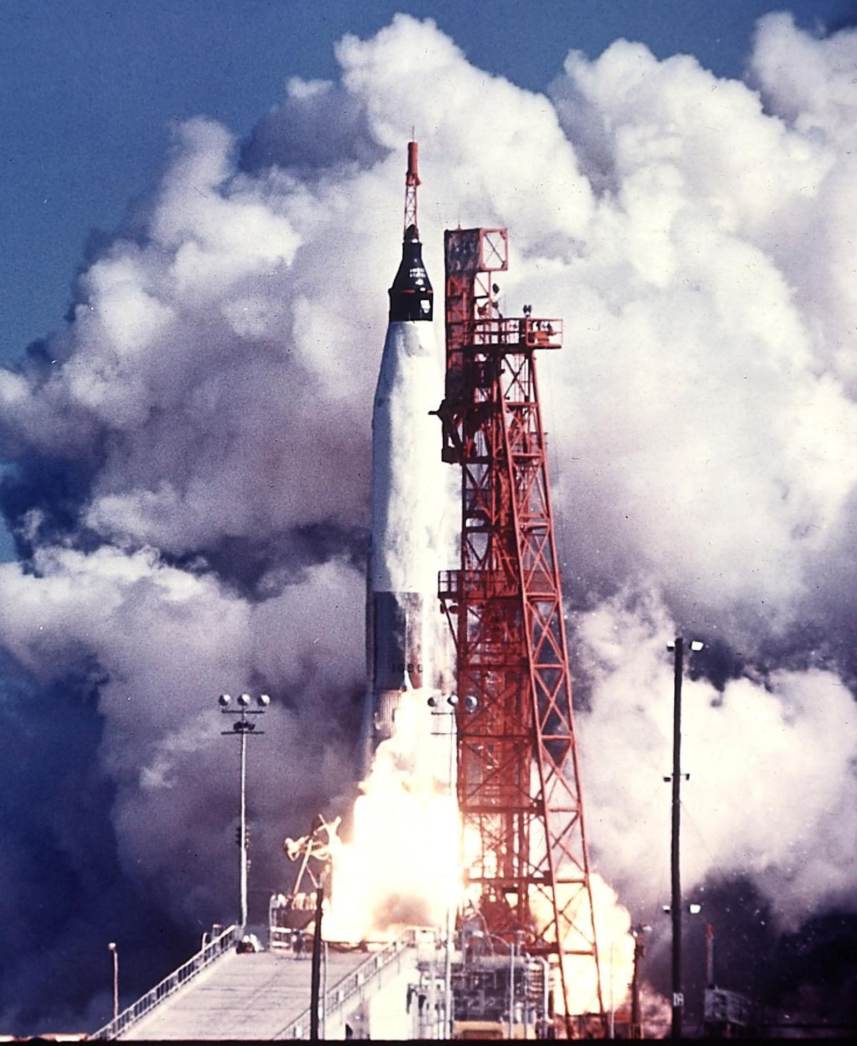 The Atlas rocket and the newly-named Mercury spacecraft called Friendship 7 blast off from Cape Canaveral, Florida, February 20, 1962, carrying Col. John Glenn, Jr., as the first American to orbit the earth