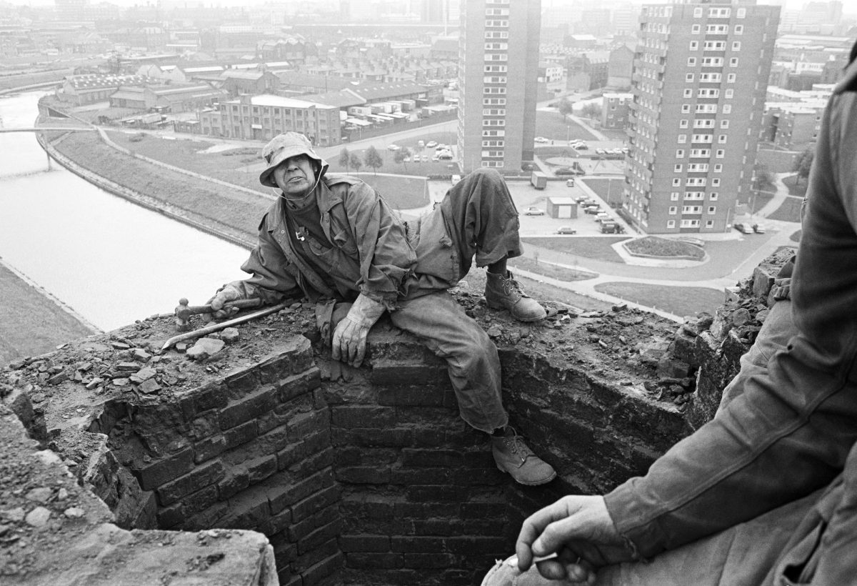 Portrait of Peter Tatham. From the series: Peter Tatham, steeplejack, laddering the Salford City incinerator chimney prior to demolition. September 1976.