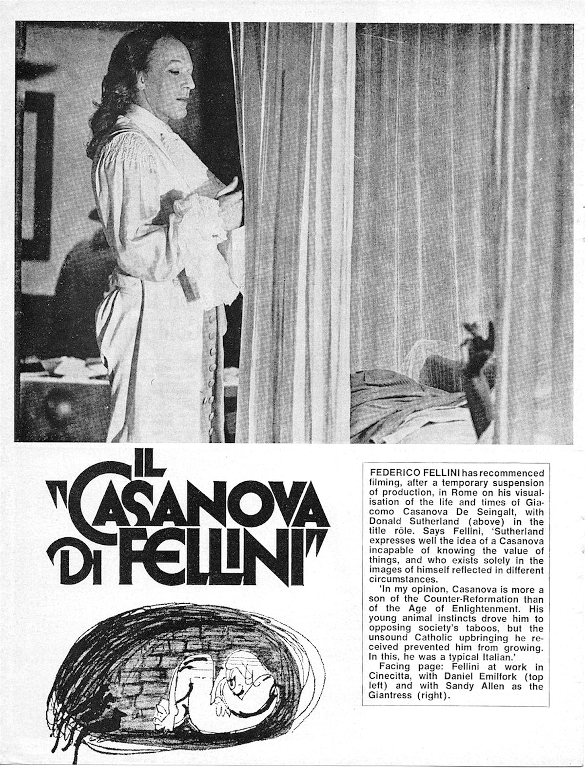 Films and Filming, Casanova, Fellini, Donald Sutherland, magazines, 1970s,