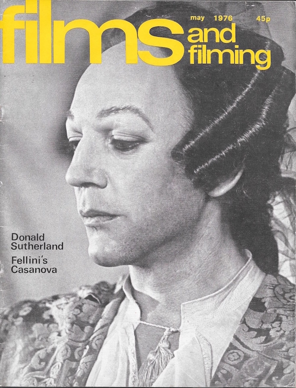 Films and Filming, 1976, magazines, Donald Sutherland, Casanova, Fellini