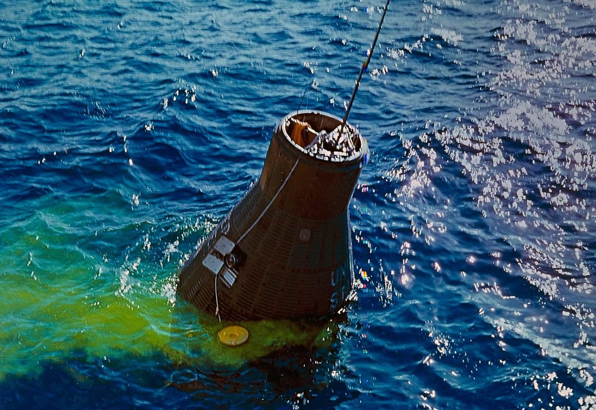 The Friendship 7 capsule, containing astronaut John Glenn, is recovered from the Atlantic by the destroyer U.S.S. Noa - February 20, 1962.