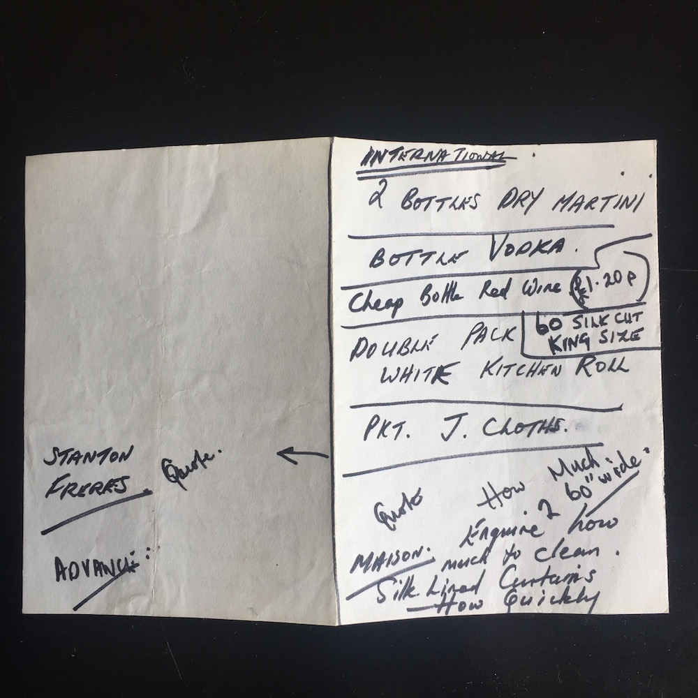 Shopping list/instructions written for me by my employer in 1978. Advance was the dry cleaners in Edgware Road. I'm not now sure about Stanton Freres; was it the local off-licence?