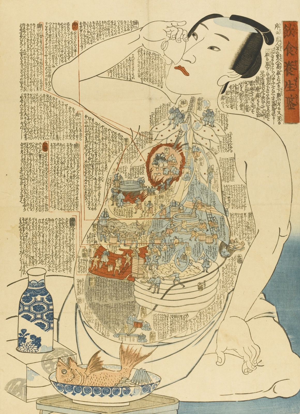 Inshoku yōjō kagami Translated Title: Model for healthy diet Creator/Contributor: unknown, Artist Abstract: P008-b was the wrapper for P008-a Date: 19th Century
