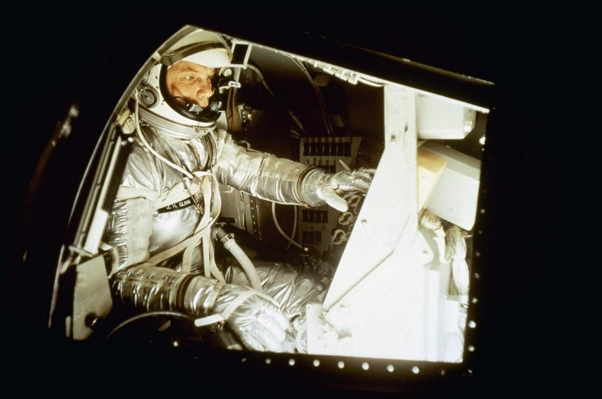 Mercury astronaut John Glenn inside a training capsule - January 11th, 1961