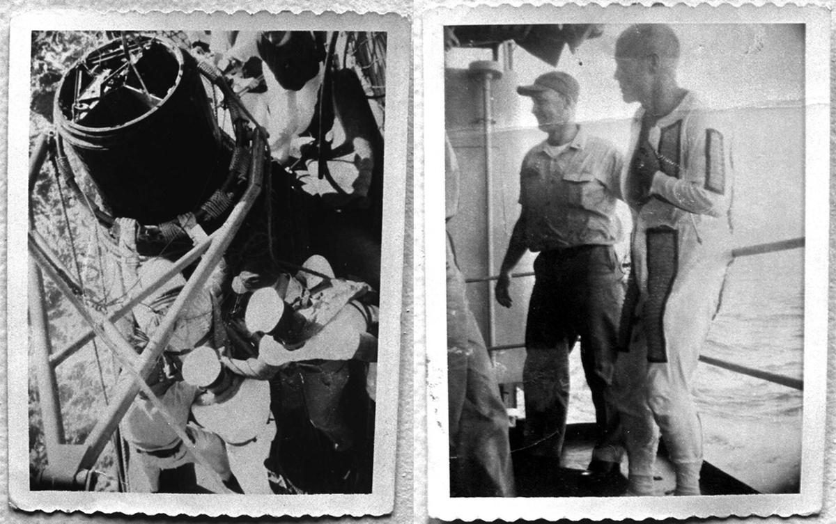 (Left) Col. John Glenn is helped from his Friendship 7 capsule by crewmen from the USS Noa in these February 20, 1962 Polaroid photos taken by then Navy fireman David Gillespie of Cleveland. (Right) Col. John Glenn is assisted by an unidentified sailor aboard the USS Noa following his historic orbital flight in this February 20, 1962 photo. The Noa made the recovery after the historic flight when the capsule landed 44 miles from the primary recovery vessel. #