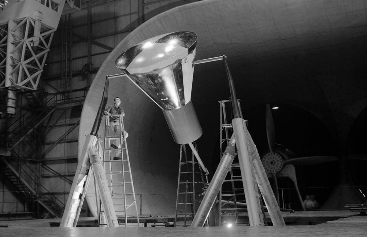 Mercury space capsule in a Wind Tunnel - January 1959.
