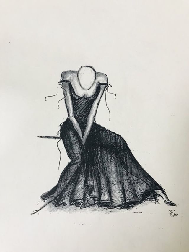 Fashion sketch. Ola Hudson Archive, courtesy Ash Hudson. No reproduction without permission.