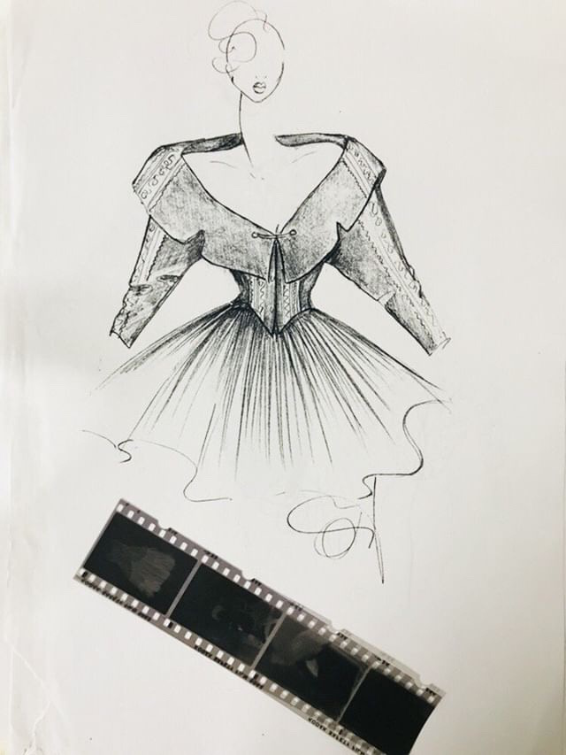 Fashion sketch and negatives. Ola Hudson Archive, courtesy Ash Hudson. No reproduction without permission.