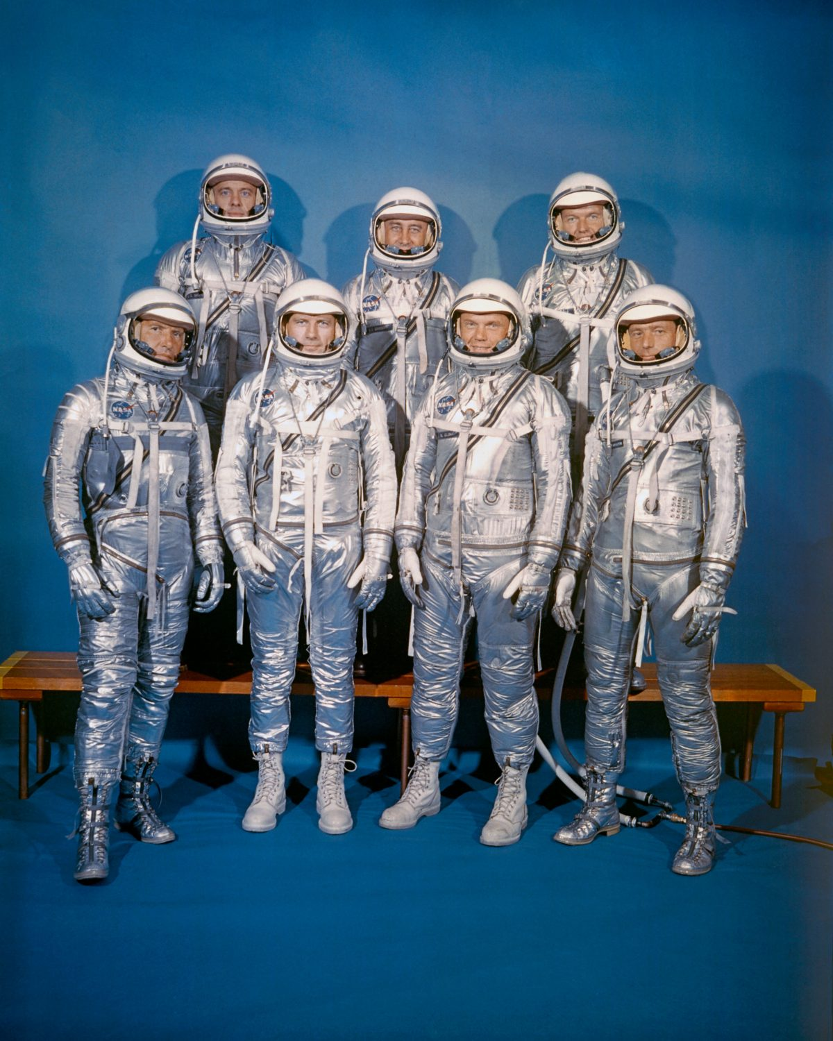 "The_Mercury_7 On April 9, 1959, NASA introduced its first astronaut class, the Mercury 7. Front row, left to right: Walter M. Schirra, Jr., Donald K. ""Deke"" Slayton, John H. Glenn, Jr., and M. Scott Carpenter; back row, Alan B. Shepard, Jr., Virgil I. ""Gus"" Grissom, and L. Gordon Cooper, Jr."