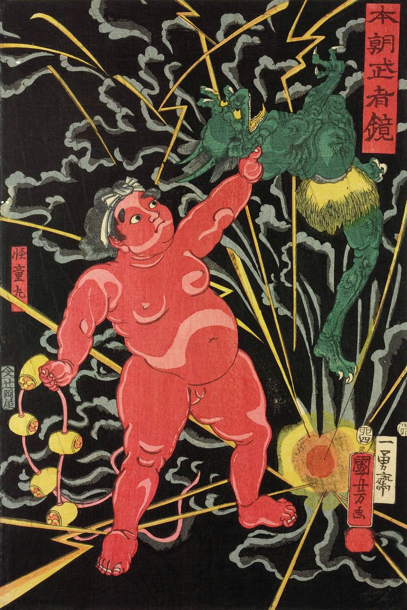 Utagawa Kuniyoshi - Honcho musha kagami (Mirror of Warriors of Our Country) - Kintaro seizing Raijin the thundergod, Japan, colour woodblock print , 1855