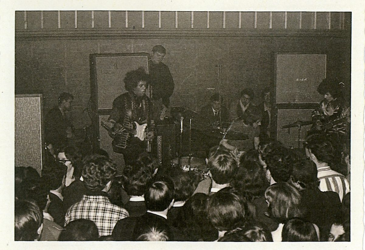 Jimi Hendrix playing for the first time outside the US, in a small club in Mouscron, Belgium, March 1967