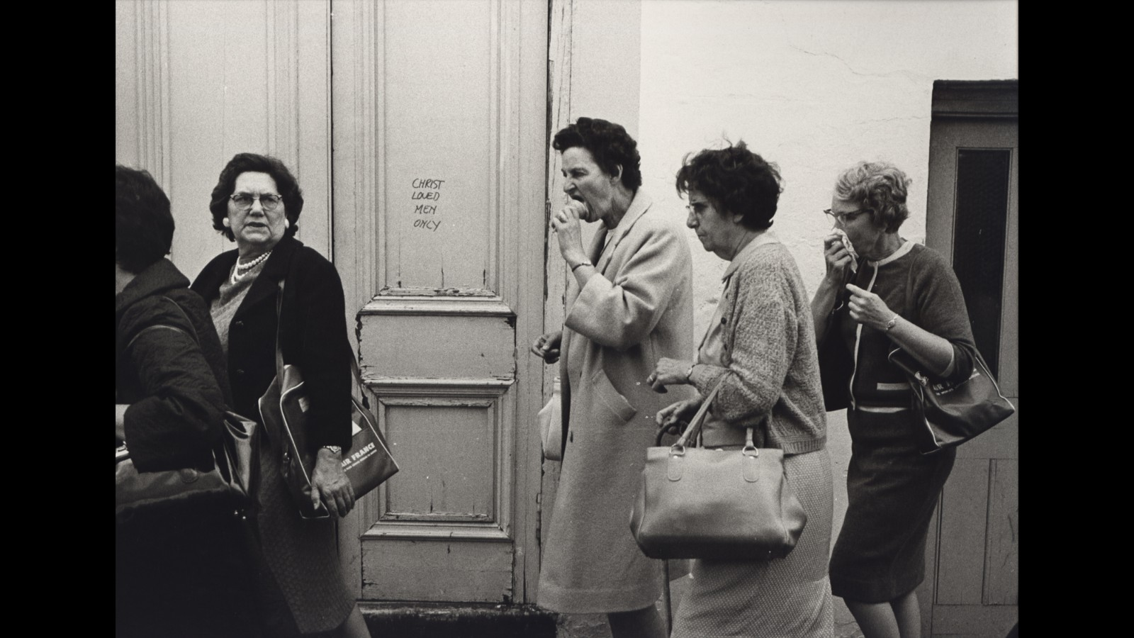 "This door in London read ""Christ loved men only"" in 1967. Jill Freedman/Steven Kasher Gallery"
