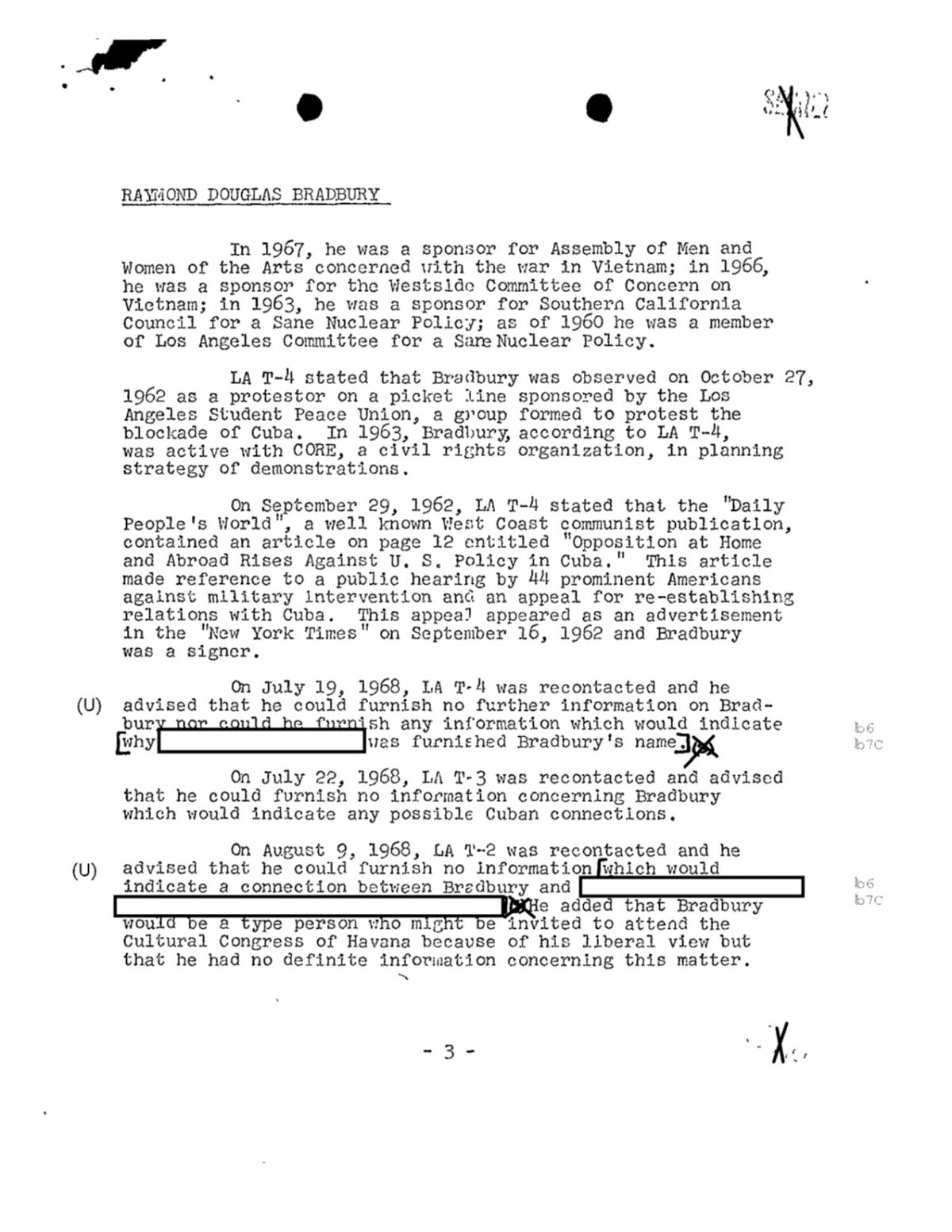 Ray Bradbury FBI files