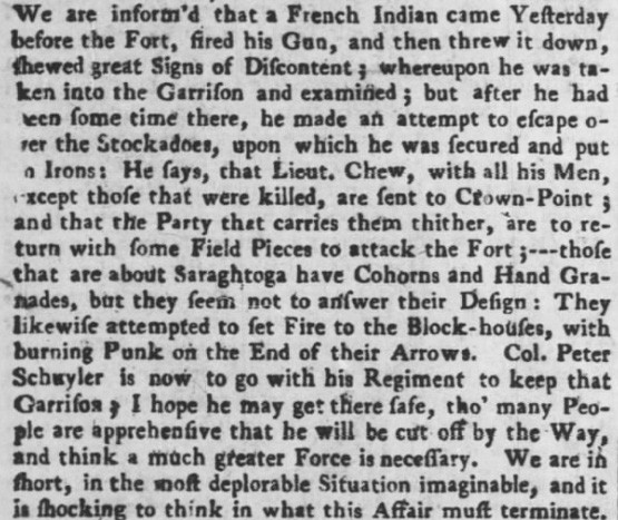 """Burning punk,"" mentioned in a 1747 article about an attack on Fort Saratoga (Source: Pennsylvania Gazette)"