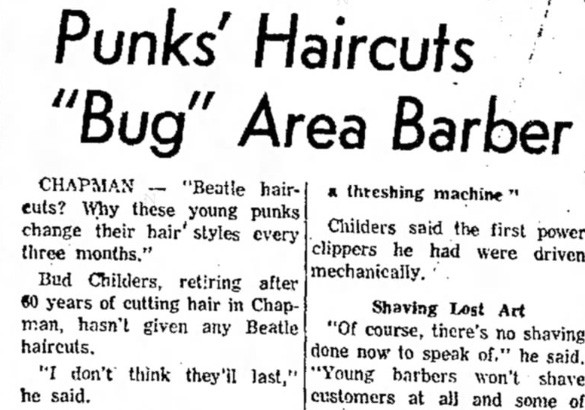 """Punks' Haircuts"", 1964 (Source: The Salina Journal)"