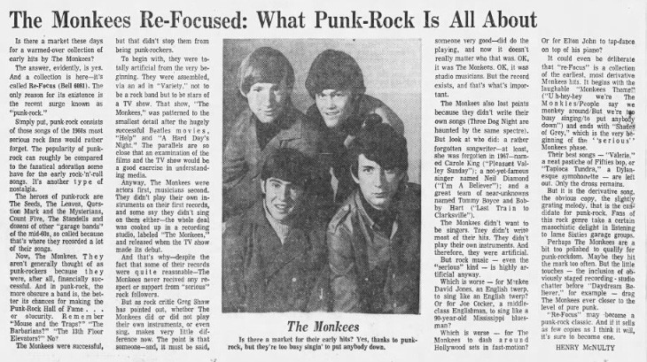 """What Punk Rock Is All About"", 1973 (Source: Hartford Courant)"