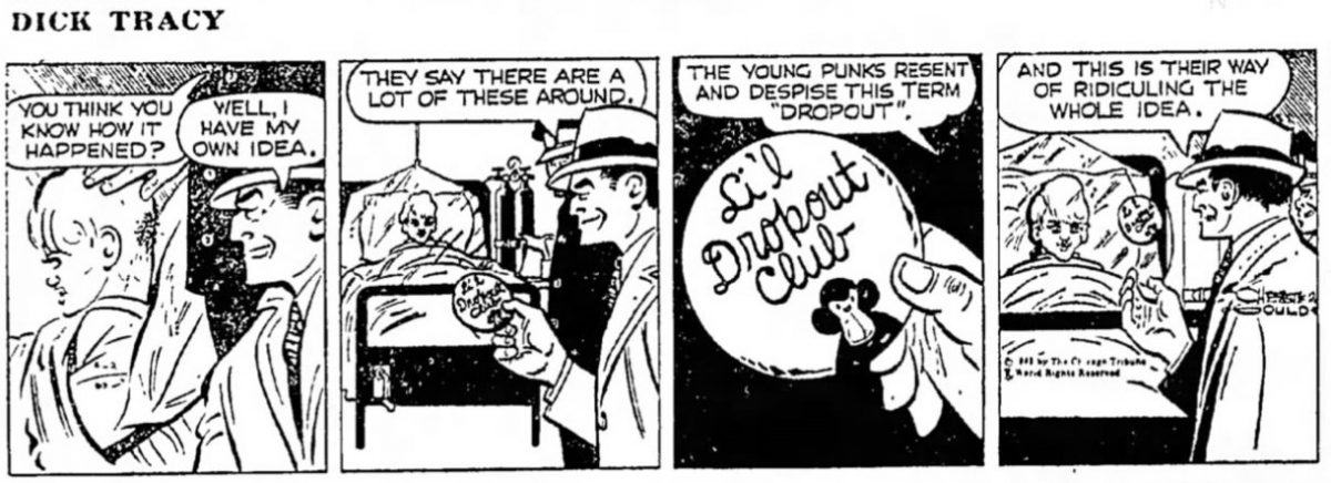 """Young punk"" in Dick Tracy, 1965 (Source: Great Bend Tribune)"