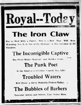 Advertisement for Pedro The Punk Poet, 1916 (Source: Hot Springs New Era)