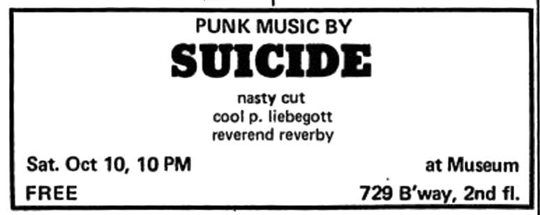 Advertisement for Suicide in the Village Voice, October 1970 (Source: From The Archives)