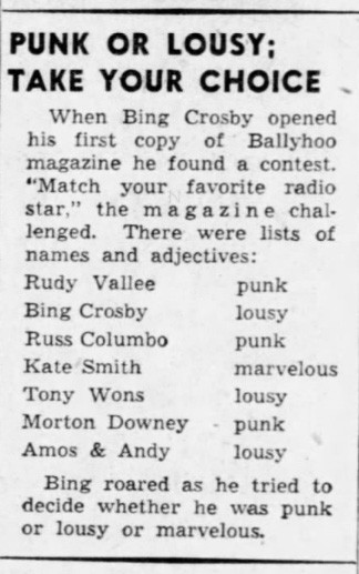 Bing Crosby remembers the Ballyhoo 'punk' feature from the early thirties, 1949 (Source: Minneapolis Star Tribune)