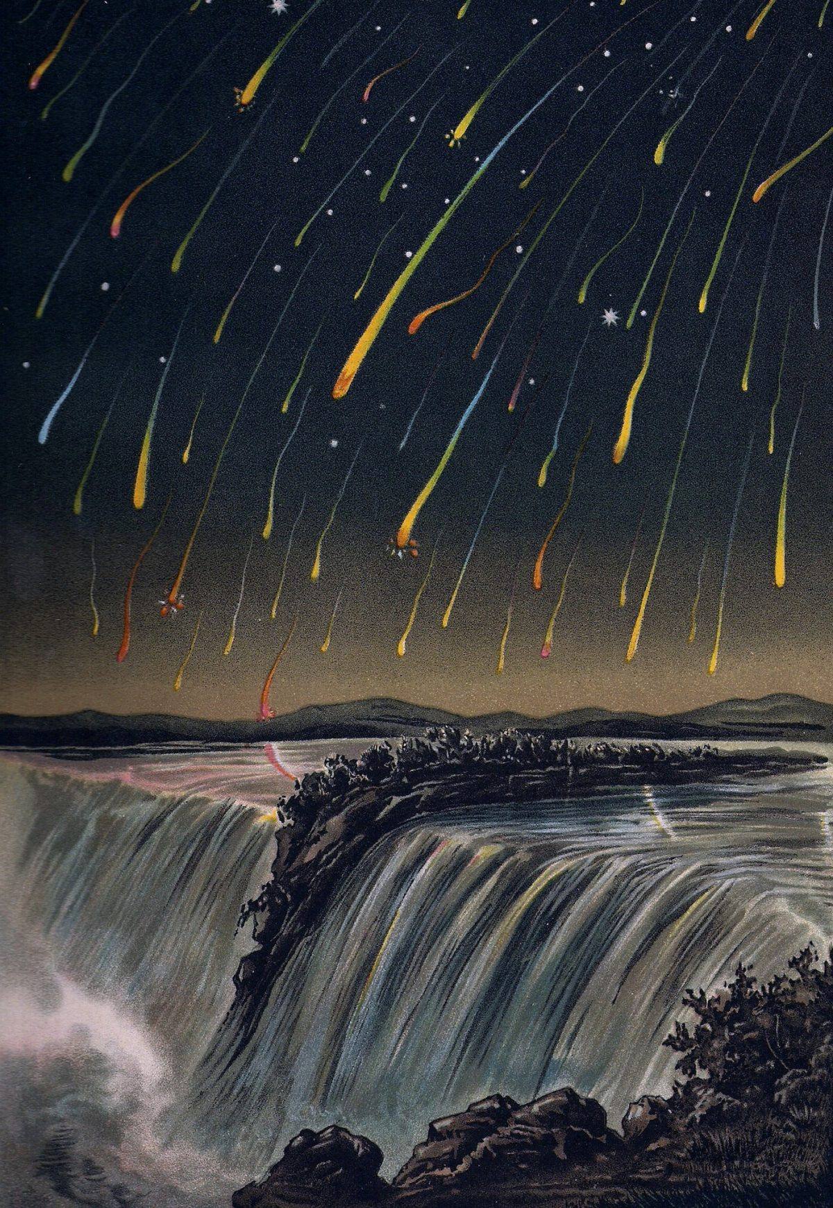 Leonid meteor shower over Niagara Falls. Illustration from Edmund Weiss, Bilder-Atlas der Sternenwelt [Image atlas of the star world], Stuttgart, 1892 (The Smithsonian Library, Washington DC)