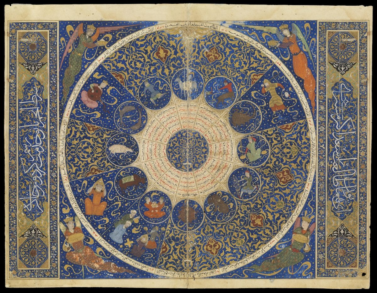 A fold out page from the 'Iskandar Horoscope' showing the position of the planets at the moment of Jalāl al-Dīn Iskandar Sultan ibn 'Umar Shaykh's birth on 25th April , 1384 CE in the form of a planisphere. (The Wellcome Library , London)