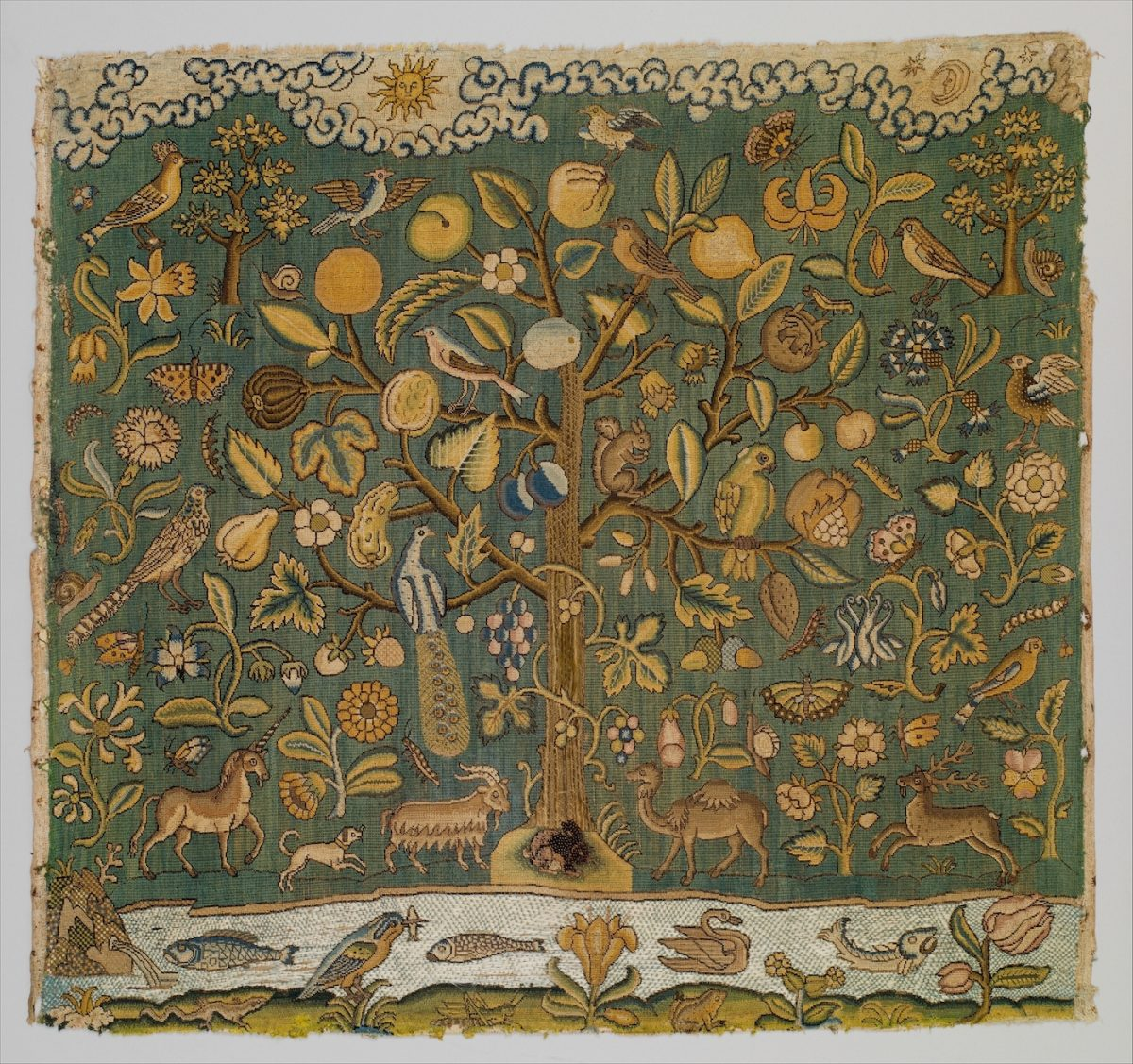 The Tree of Life - Tapestry, English, first half of 17th century Canvas worked with silk thread; tent, Gobelin, and couching stitches. (The Victoria and Albert Museum, London)