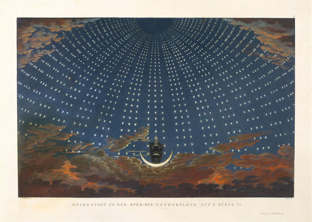 Design for Mozart's The Magic Flute: The Hall of Stars in the Palace of the Queen of the Night, Act 1, Scene 6. Aquatint printed in colour and hand coloured, print by Karl Friedrich Thiele, after Karl Friedrich Schinkel's original production designs from 1816, 1847–49 (The Metropolitan Museum of Art, New York)