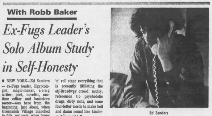 Ed Sanders article which included the first use of 'punk rock' (Source: Chicago Tribune)
