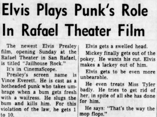 Presley as a punk, 1957 (Source: San Rafael Daily Independent Journal)