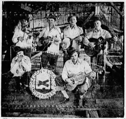 The Oregon Loggers, 1932. Ernest Nelson is bottom left, with his harmonica (Source: The News-Review, Roseburg)