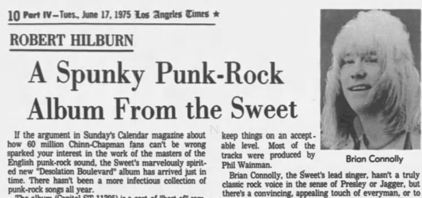 The Sweet and Chinn-Chapman as punk, 1975 (Source: Los Angeles Times)