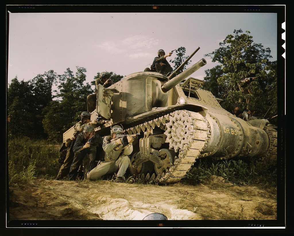 Title- M-3 tank and crew using small arms, Ft. Knox, Ky. Creator(s)- Palmer, Alfred T., photographer Date Created:Published- 1942 June