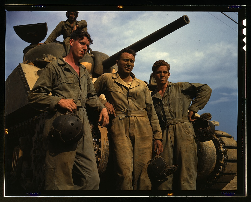 Title- Tank crew standing in front of an M-4 tank, Ft. Knox, Ky. Creator(s)- Palmer, Alfred T., photographer Date Created:Published- 1942 June