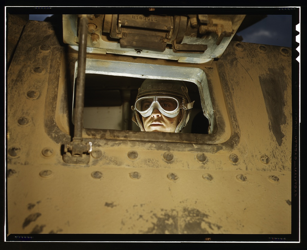 Title- Tank driver, Ft. Knox, Ky. Creator(s)- Palmer, Alfred T., photographer Date Created:Published- 1942 June