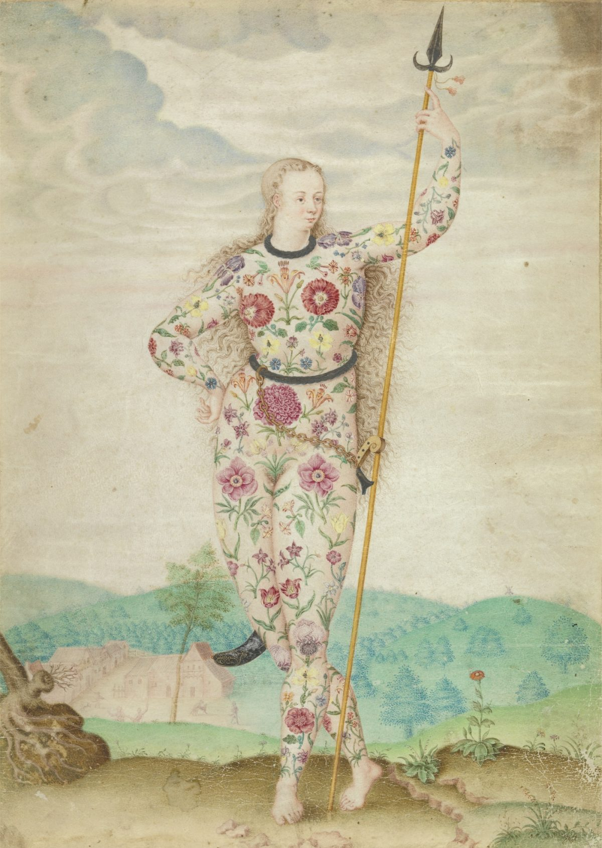 A Young Daughter of the Picts by Jacques Le Moyne de Morgues (French ca. 1533-88), watercolour and gouache, touched with gold on parchment, ca. 1588 Yale Center for British Art, Paul Mellon Collection