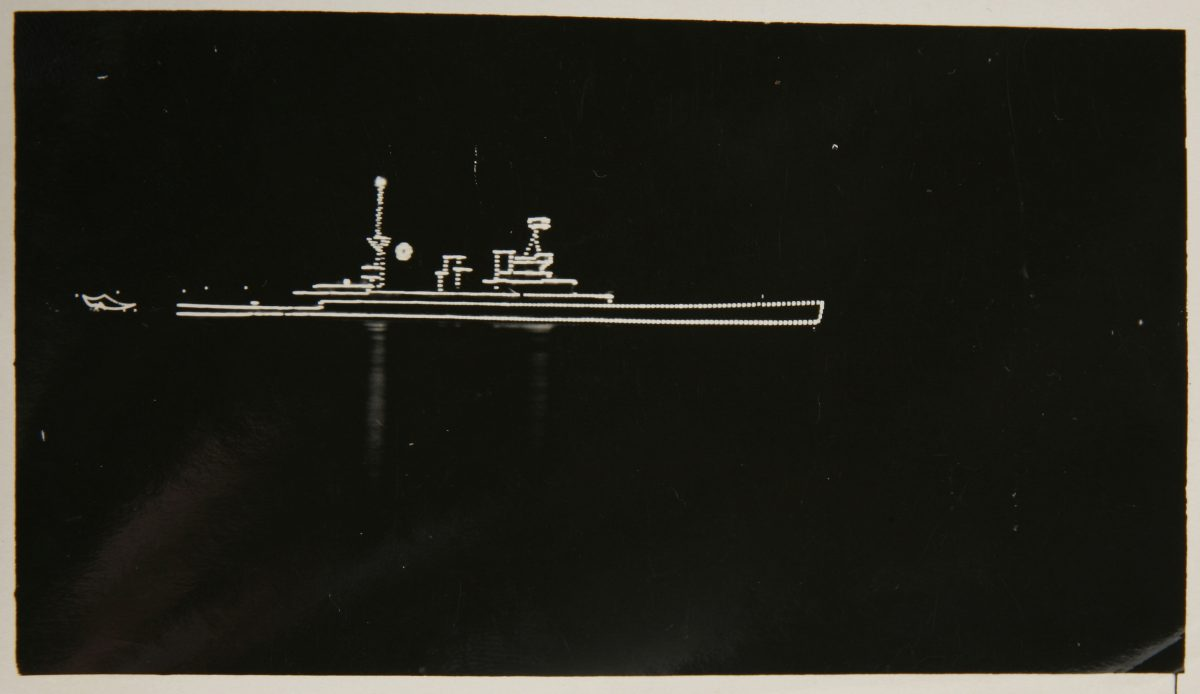 HMAS AUSTRALIA I outlined with lights