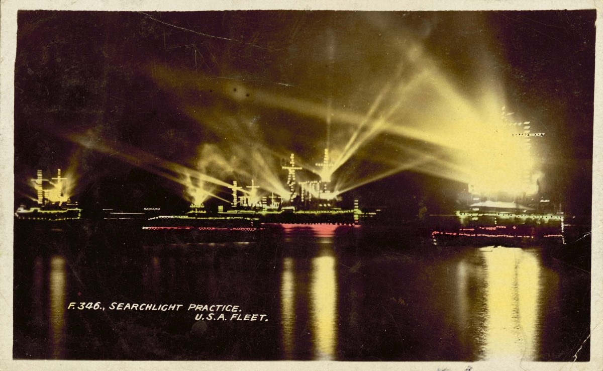 Searchlight practice, USA Fleet In December 1907