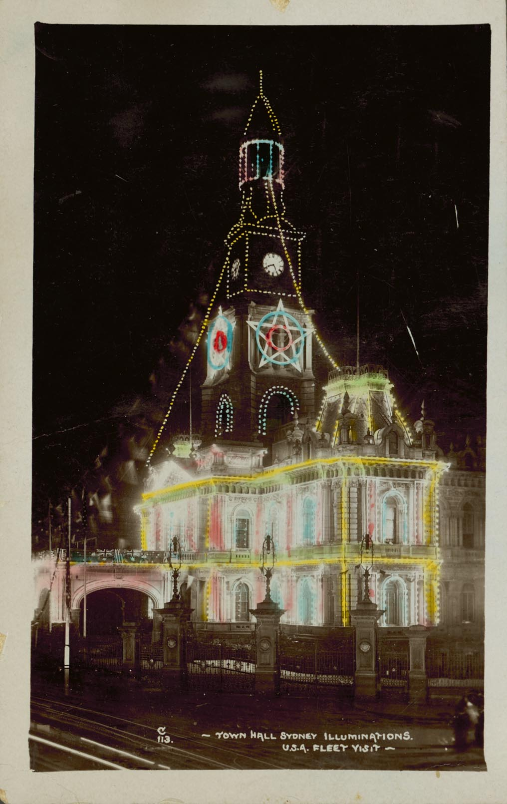 Sydney Town Hall Illuminations during the USA Fleet visit