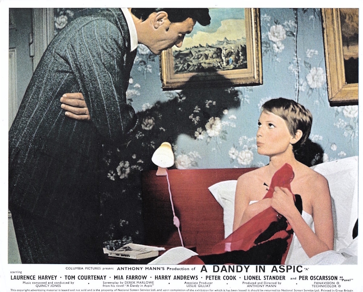 A Dandy in Aspic, Laurence Harvey, Mia Farrow, Derek Marlowe