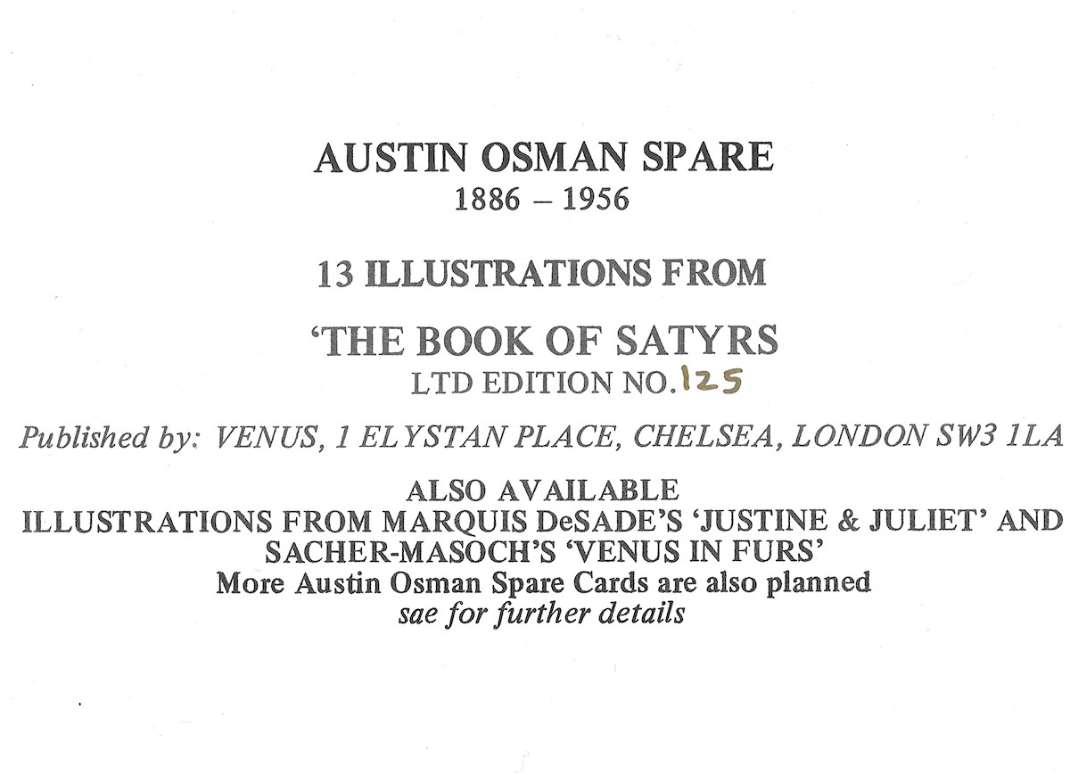 Austin Osman Spare, Book of Satyrs, occult
