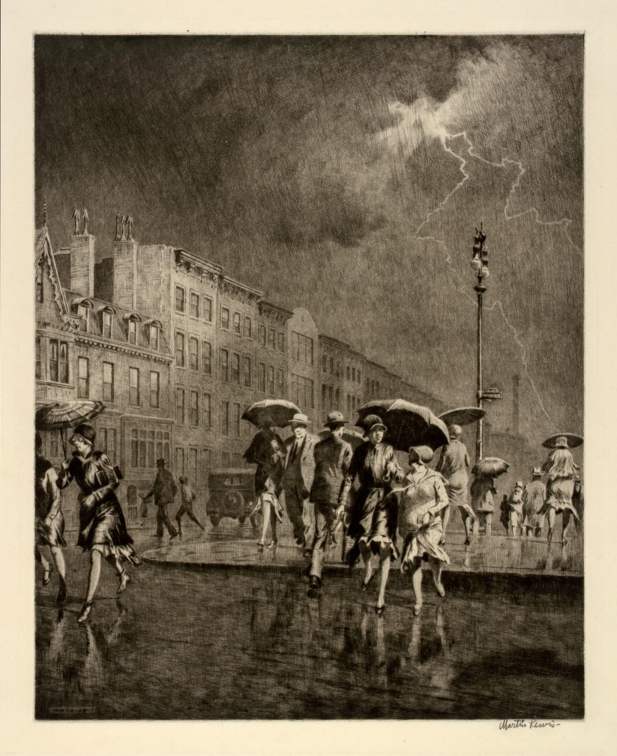 BREAK IN THE THUNDERSTORM Martin Lewis 1930 drypoint on paper